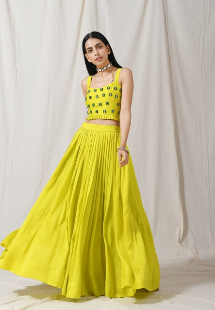 Lime Pleated Skirt with Cape-Lehenga-LABEL NITIKA-6degree.store