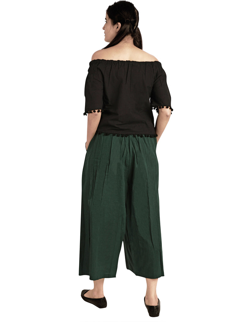 Green Skirt Pant Combo With Jute Hangings-Co-ord-MESMORA-6degree.store