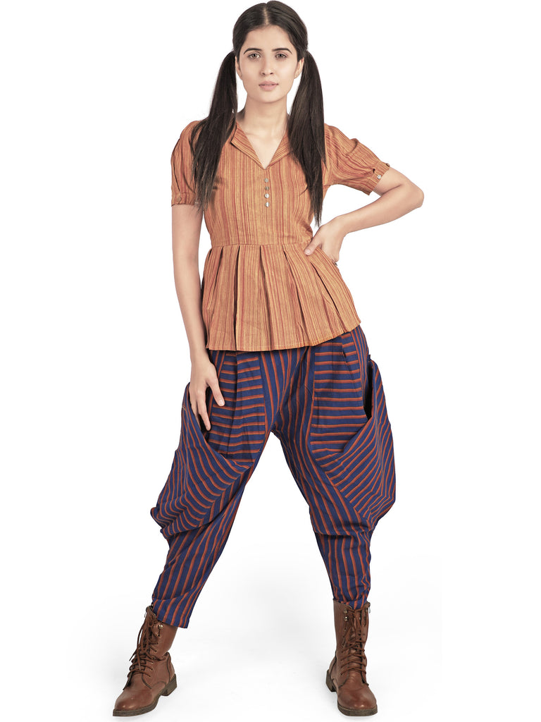 Blue Cowl Baggy Ankle Pants and Top-Co-ord-MESMORA-6degree.store