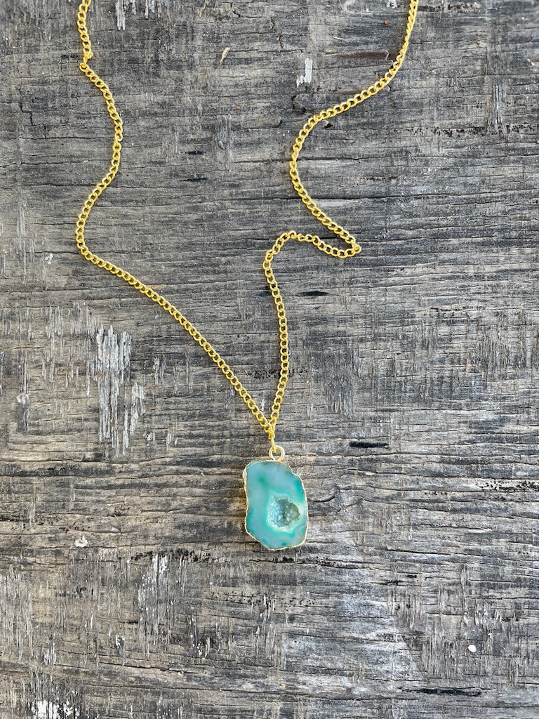 Agate Necklace- Sky Green-Accessories-MITALI JAIN-6degree.store