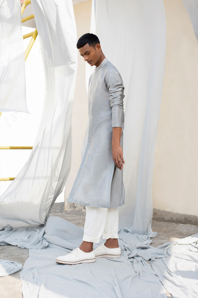 Classic Light Grey Kurta-Mens Kurta-ANTAR AGNI-6degree.store
