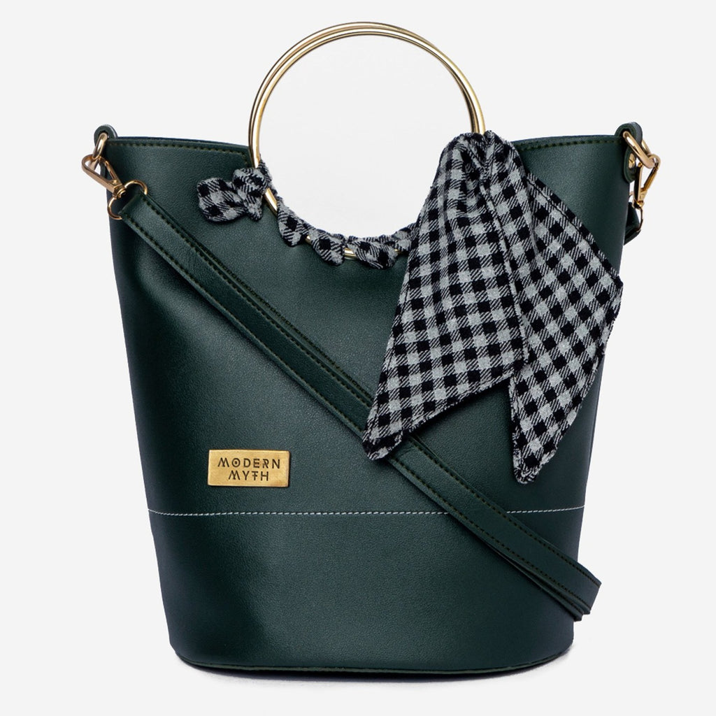 Olive Checkered Bucket Bag-Accessories-MODERN MYTH-6degree.store