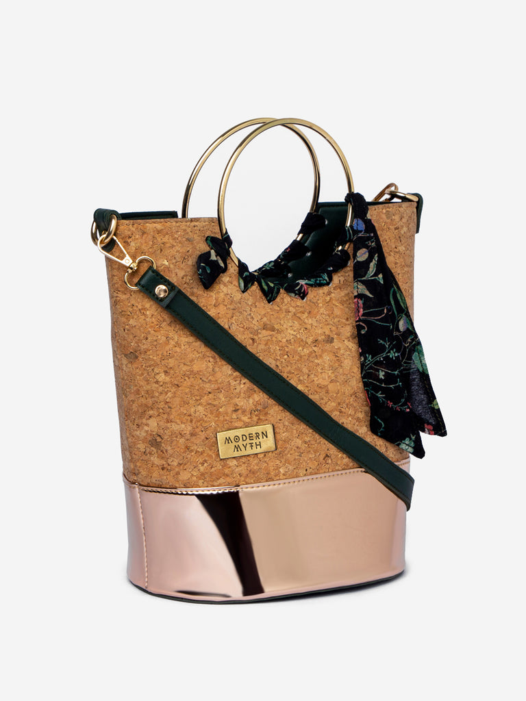 Natural Sustainable Cork Rose Gold Bucket Bag-Accessories-MODERN MYTH-6degree.store
