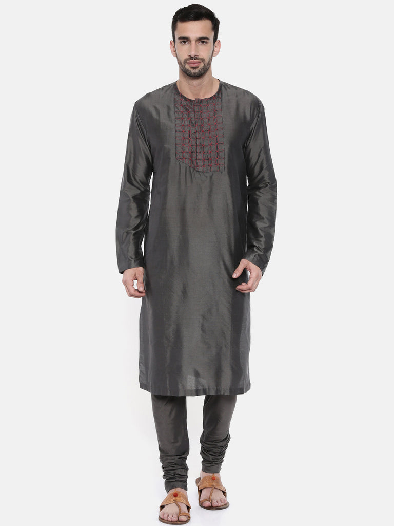 Charcoal Grey Embroidery Kurta-Mens Kurta-MAYANK MODI-6degree.store