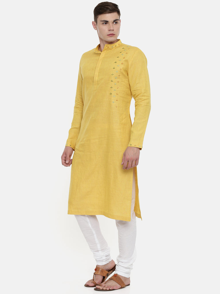 Yellow Linen Embroidered Kurta-Mens Kurta-MAYANK MODI-6degree.store