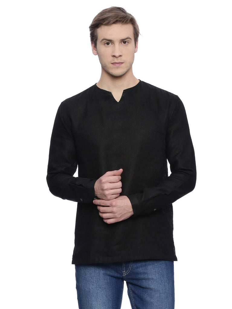 Black Linen Short Kurta-Mens Kurta-MAYANK MODI-6degree.store
