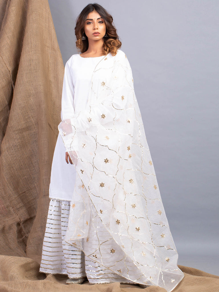 Umrao White Sharara Set-Sharara Set-MAISON SHEFALI-6degree.store