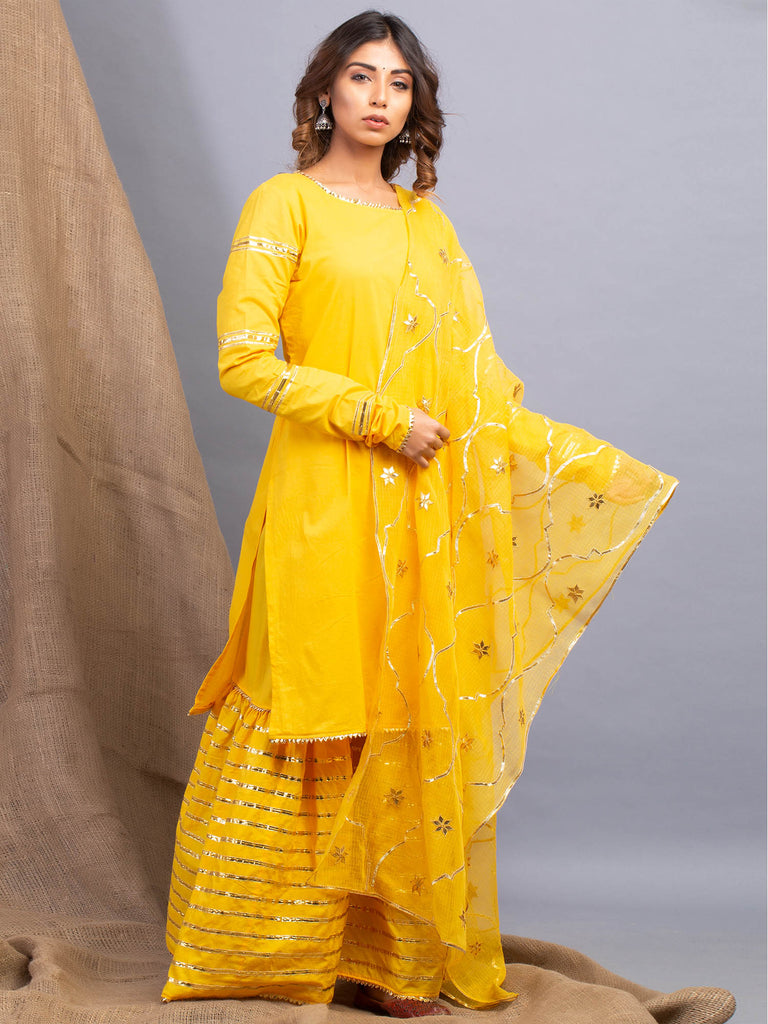 Umrao Yellow Sharara Set-Sharara Set-MAISON SHEFALI-6degree.store