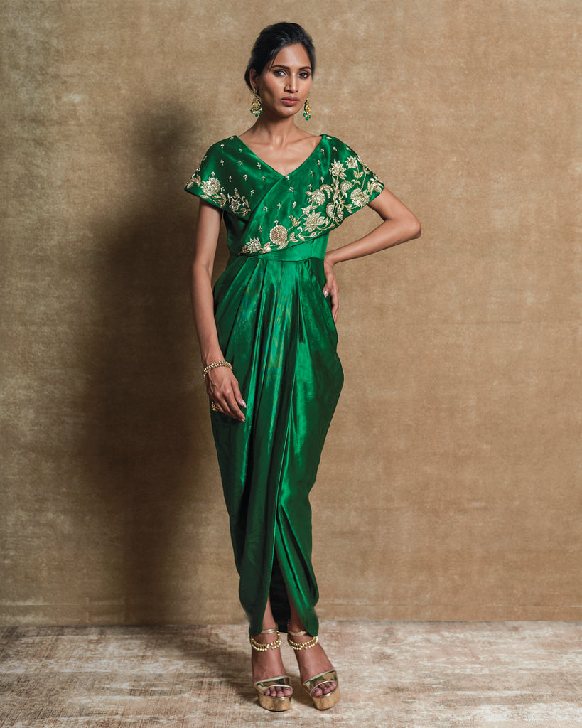 Green Drape Dress-Draped Dress-LABEL NITISHA-6degree.store