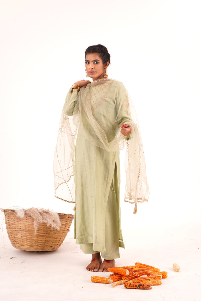 PISTACHIO GREEN STRAIGHT KURTA SET-Kurta-NAVDEEP KAUR-6degree.store
