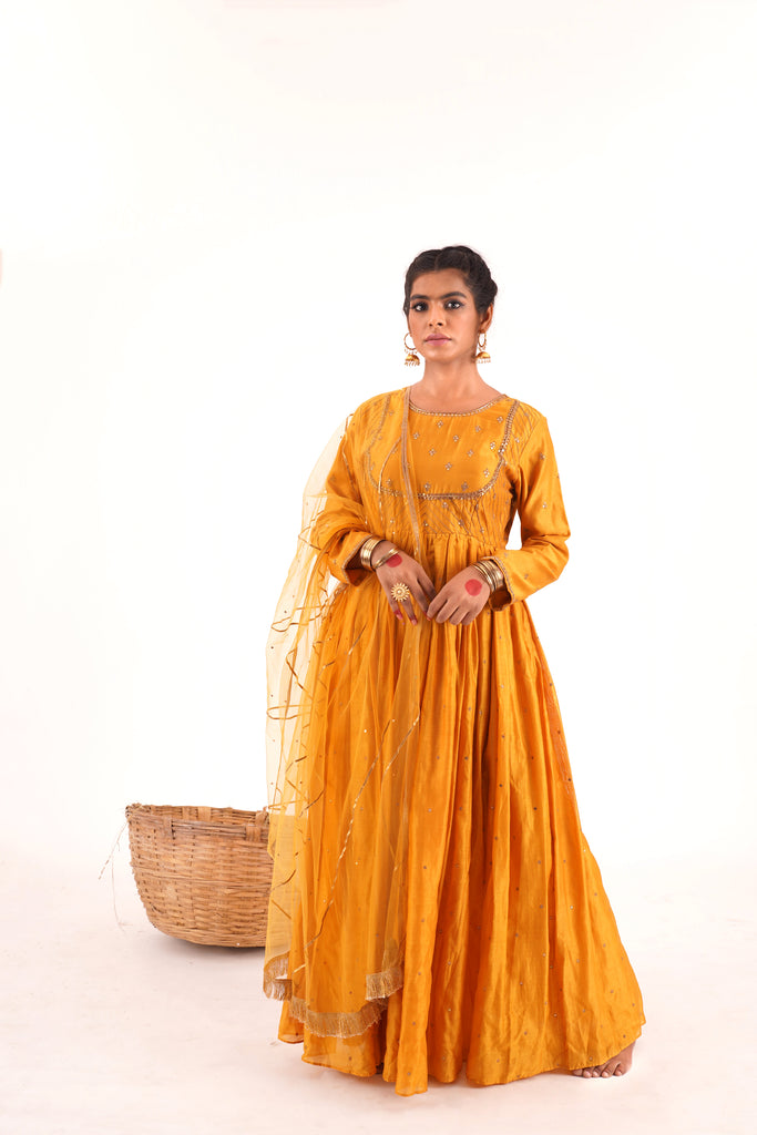 MUSTARD YELLOW ANAARKALI SET-Anarkali Set-NAVDEEP KAUR-6degree.store