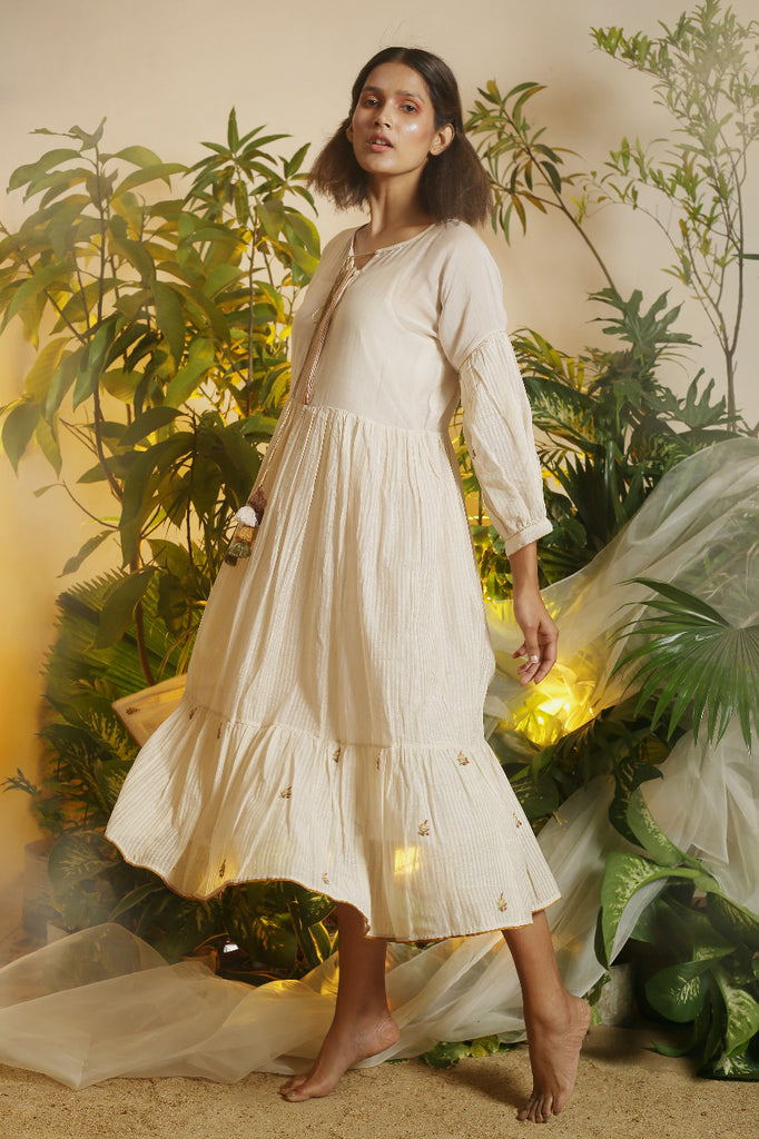 Off-White Tiered Bohemian Dress-Dress-CHOKHI CHORRI-6degree.store