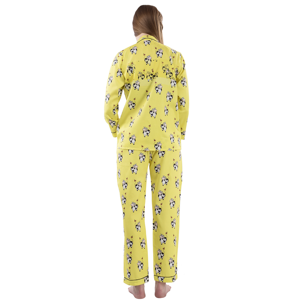 Yellow Cute Cows Women's Cotton Pyjama Set-Lounge Wear-PYJAMA PARTY-6degree.store