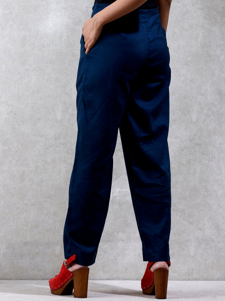 Ritu Kumar Blue Regular Fit Solid Trouser-Trousers-Ritu Kumar-6degree.store