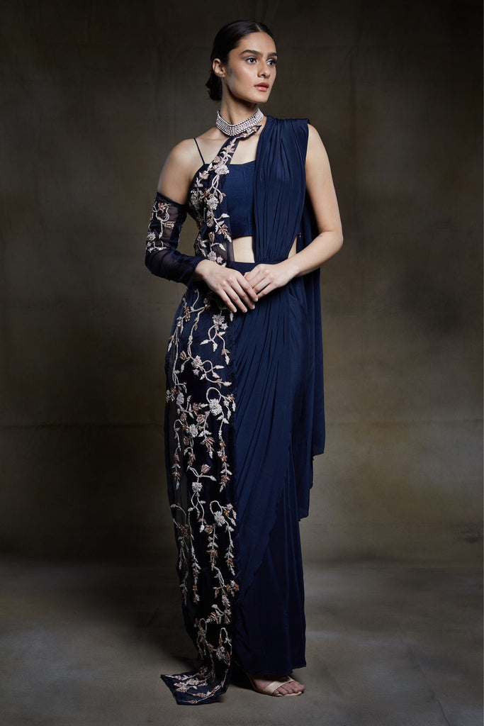 Midnight Blue Saree-Saree-PINK PEACOCK COUTURE-6degree.store