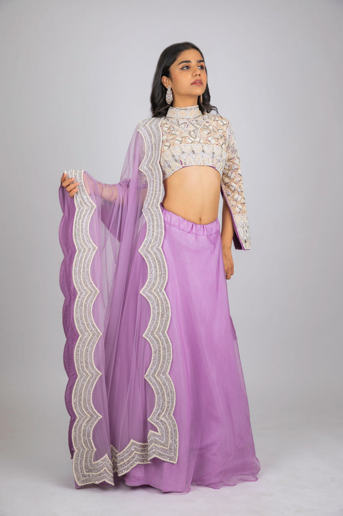 Purple Organza Blouse with Lehenga-Lehenga set-PURPLE FEATHERS BY PINKEY-6degree.store