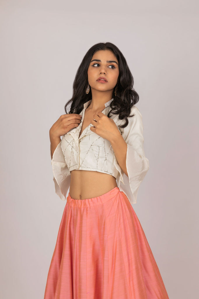 Peach Crop Top with Skirt-Indian Wear-PURPLE FEATHERS BY PINKEY-6degree.store