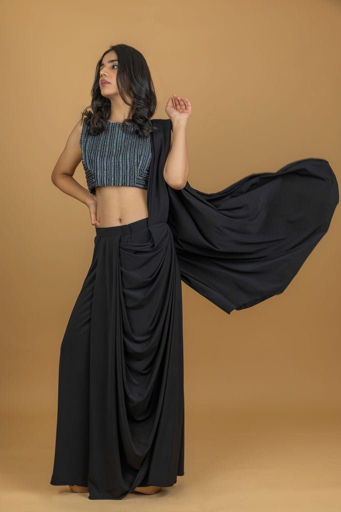 Black Crop Top with Drape Skirt-Top and Skirt-PURPLE FEATHERS BY PINKEY-6degree.store