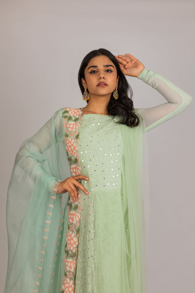 Green Embroidered Full length Dress with Dupatta.-Dress-PURPLE FEATHERS BY PINKEY-6degree.store