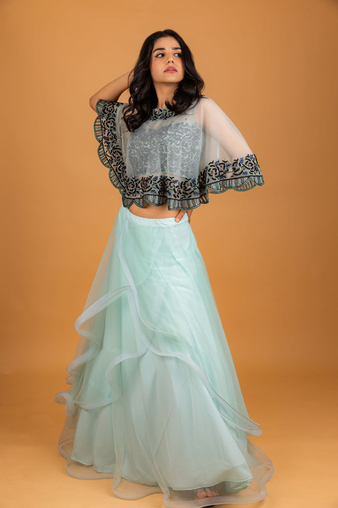 Powder Blue Cape Top with Skirt-Top and Skirt-PURPLE FEATHERS BY PINKEY-6degree.store