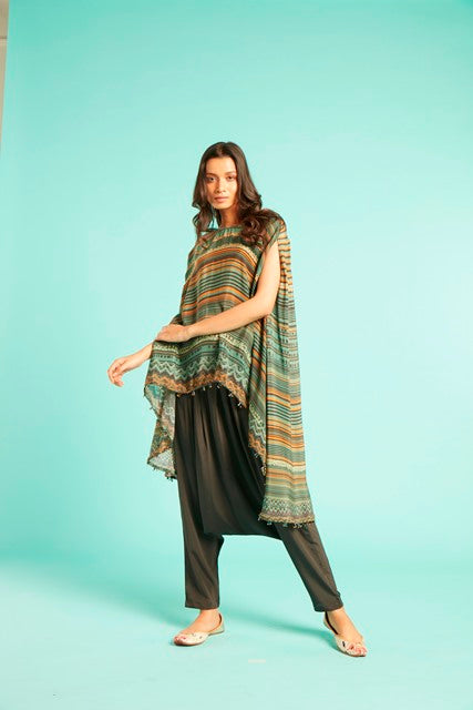 Olive Poncho Cape With Tube Beads At Hem and Pants-Tunic Set-SAUNDH-6degree.store