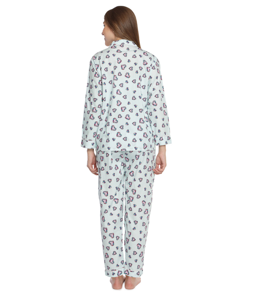 Light Blue Hearts of Diamond Women's Cotton Pyjama Set-Lounge Wear-PYJAMA PARTY-6degree.store