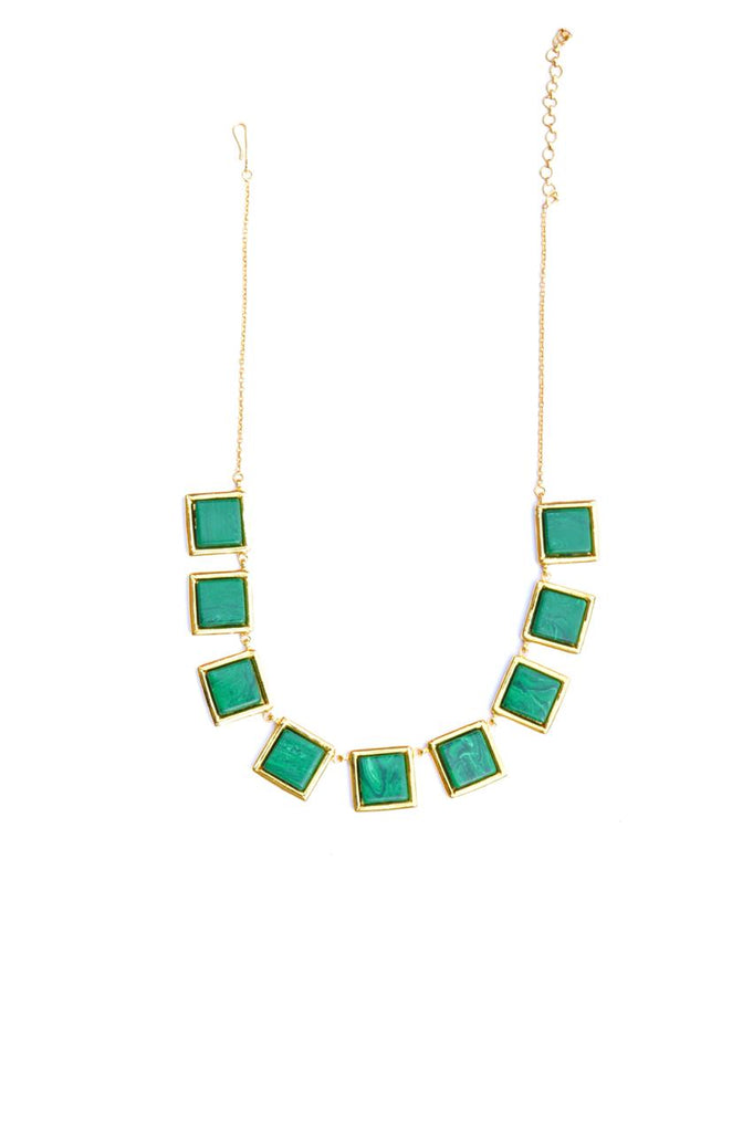 Green Square Malachite Necklace-Accessories-ROSADAMASCENA-6degree.store