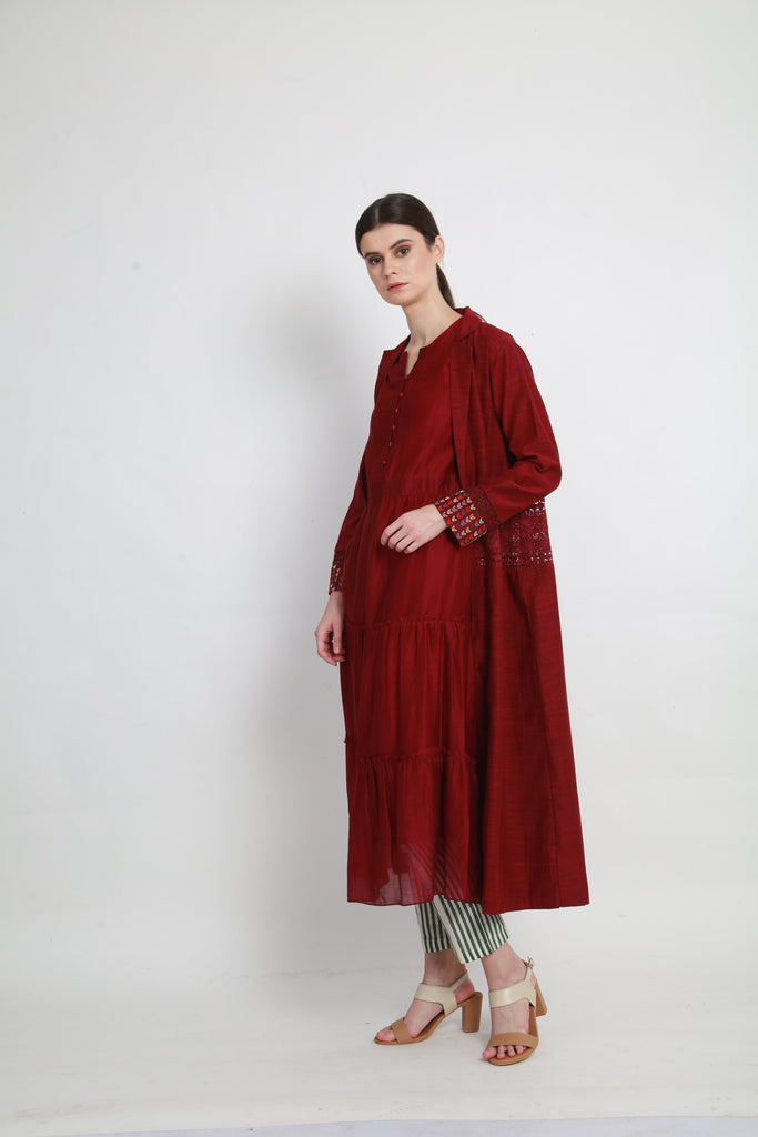 Beetroot tier tunic with jacket and pants-Tunic-ARCVSH by Pallavi Singh-6degree.store