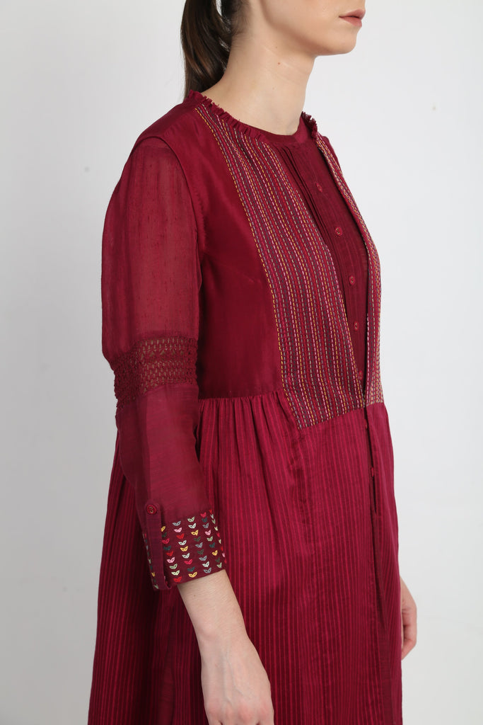 Beetroot Tunic With Jacket And Pants-Tunic-ARCVSH by Pallavi Singh-6degree.store