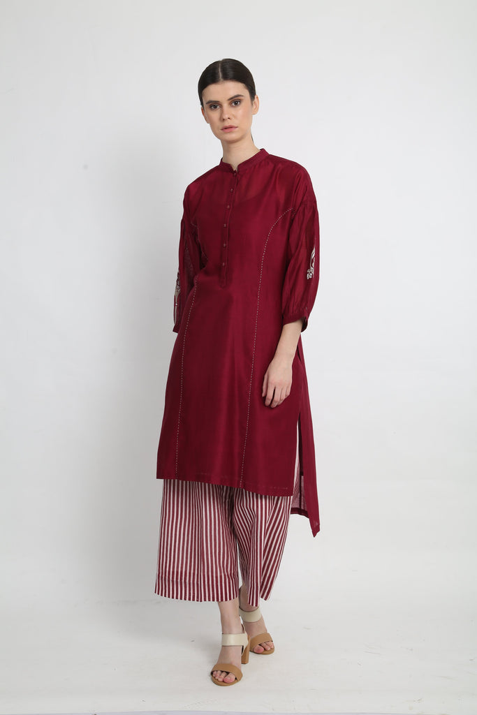 Beetroot tunic with stripe pants-Tunic-ARCVSH by Pallavi Singh-6degree.store