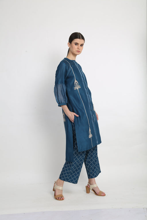 Blue Applique Detail Tunic With Printed Pants-Tunic-ARCVSH by Pallavi Singh-6degree.store
