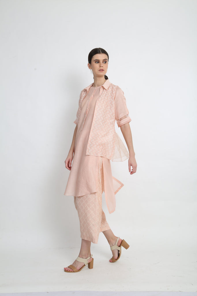 Peach Tunic With Short Jacket Paired With Pants-Tunic-ARCVSH by Pallavi Singh-6degree.store