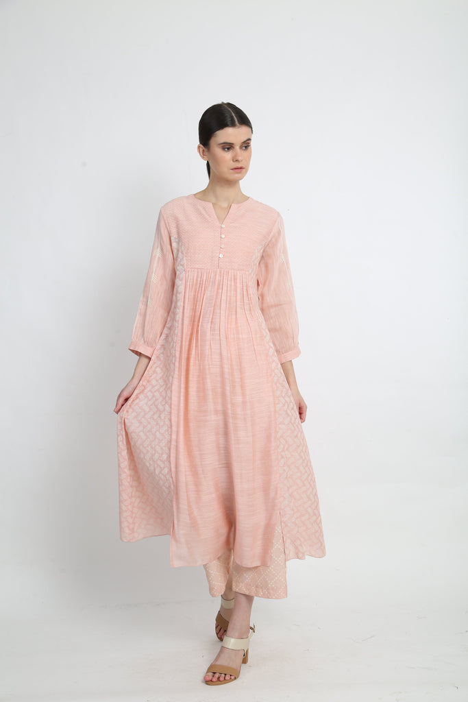 Peach Printed Dress With Pants-Dress-ARCVSH by Pallavi Singh-6degree.store