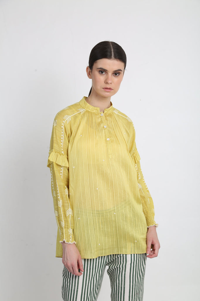 Lime Printed Top With Thread Embroidery Detail-Top-ARCVSH by Pallavi Singh-6degree.store