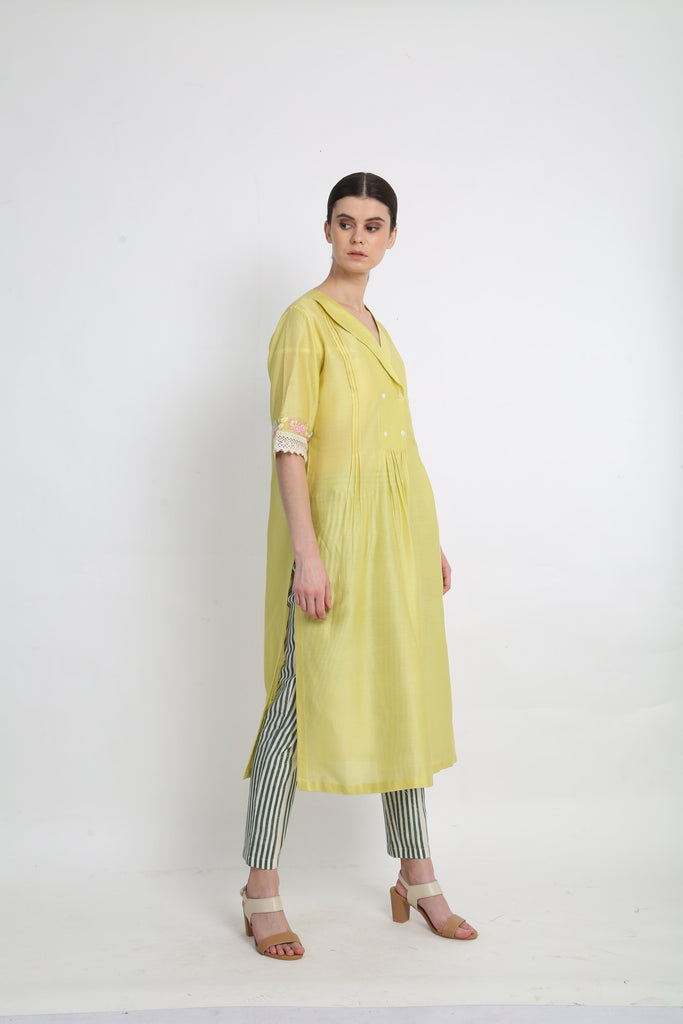 Lime Tunic With Stripe Pants-Tunic-ARCVSH by Pallavi Singh-6degree.store