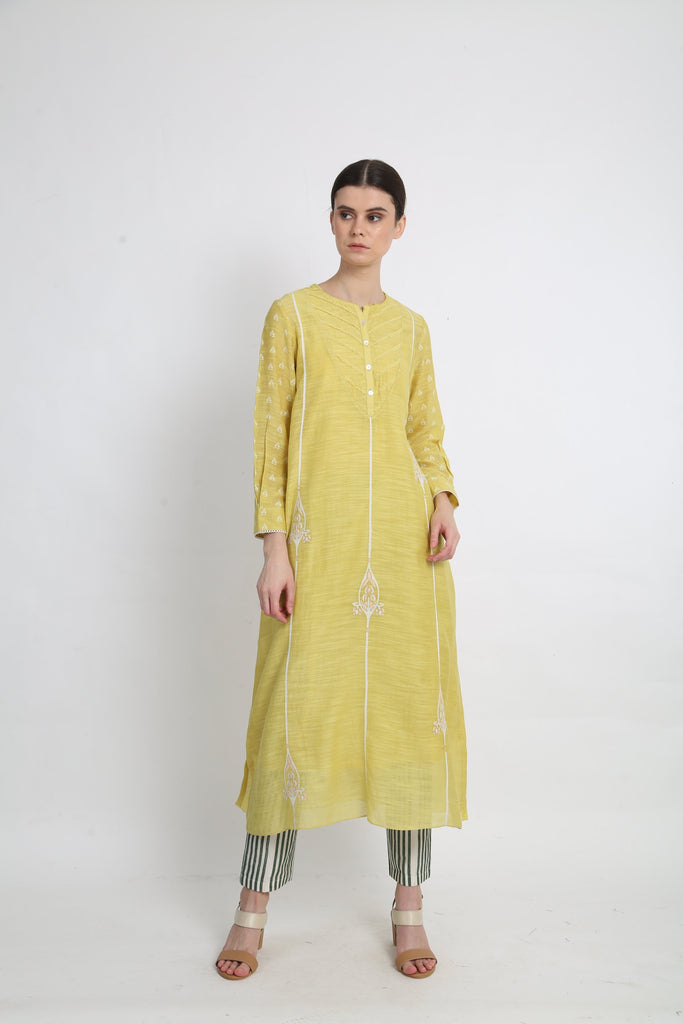 Lime Tunic With Stripe Pants-Dress-ARCVSH by Pallavi Singh-6degree.store
