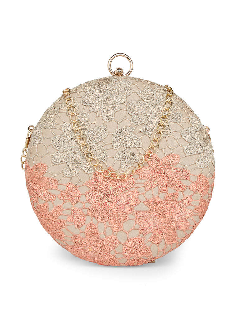 Peach and gold lace Clutch-Accessories-RICHA GUPTA-6degree.store