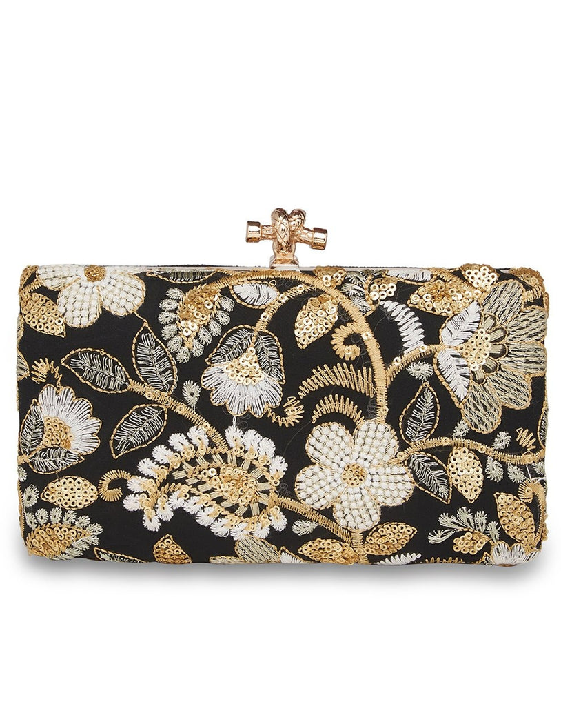 Black and White embroidered clutch-Accessories-RICHA GUPTA-6degree.store