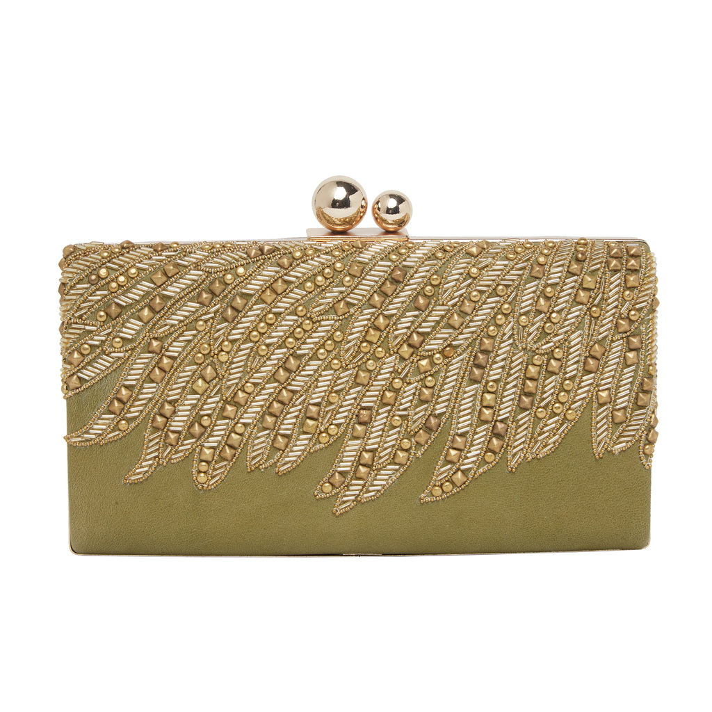 Green Leather Clutch-Accessories-RICHA GUPTA-6degree.store