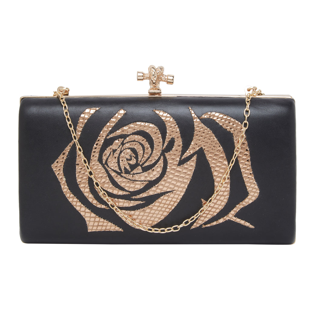 Black with Gold Leather Clutch-Accessories-RICHA GUPTA-6degree.store