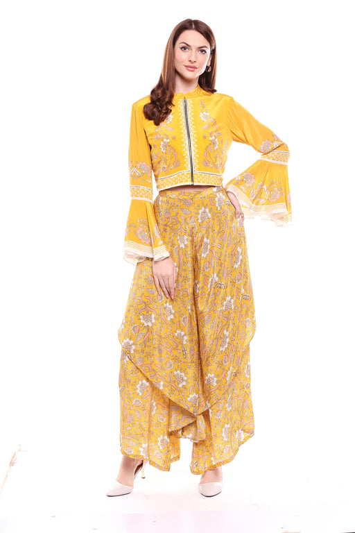 Yellow Double Layered Pants with Printed Top-Palazzo Set-SOUP BY SOUGAT PAUL-6degree.store