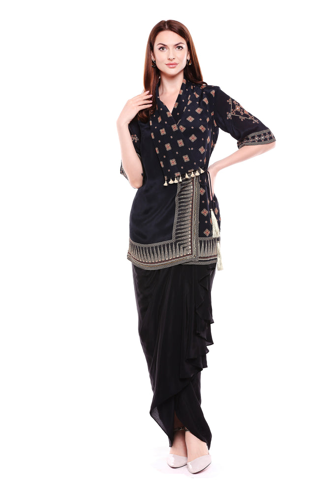 Jacket+dhoti Black-Dhoti Set-SOUP BY SOUGAT PAUL-6degree.store