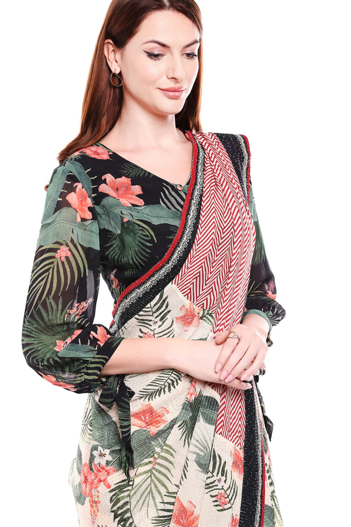 Blouse, Saree black, Green and Off white-Saree-SOUP BY SOUGAT PAUL-6degree.store