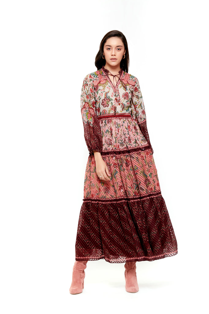 Beige Brown Chintz Long Dress With Sleeves-Dresses-Siddhartha Bansal-6degree.store