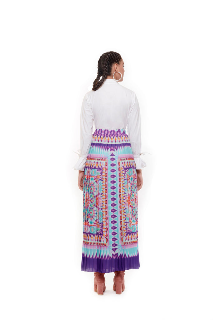 Multi Color Tie Dye Pleated Skirt-Skirts-Siddhartha Bansal-6degree.store