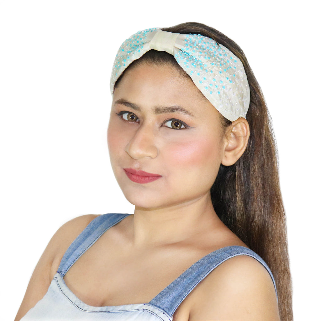 Aqua White Hairband-Accessories-SOHO BOHO STUDIO-6degree.store