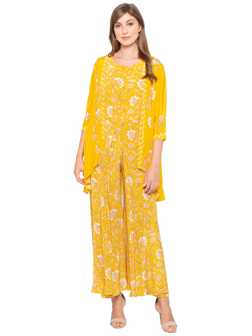 Yellow Jumpsuit with Jacket-Jumpsuits-SOUP BY SOUGAT PAUL-6degree.store