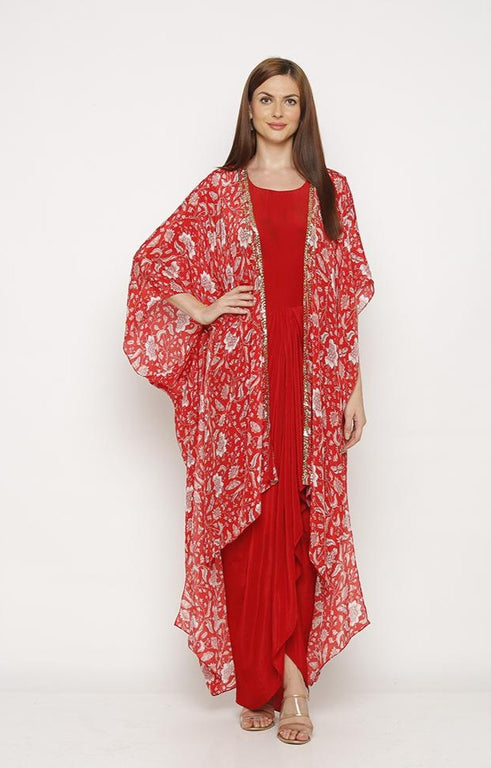 Red Drape Dress with Jacket-Dresses-SOUP BY SOUGAT PAUL-6degree.store