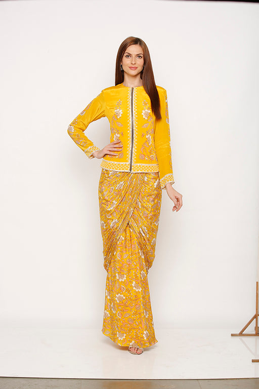 Yellow Drape Skirt with Embroidery Jacket-Draped skirt-SOUP BY SOUGAT PAUL-6degree.store
