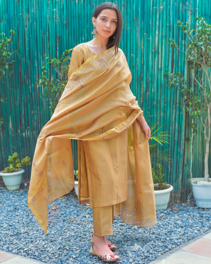 Apricot Orange Chanderi Set-Chanderi Set-THE HEMMING BIRD-6degree.store